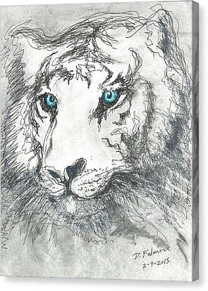 Canvas Print featuring the drawing White Bengal Tiger by Denise Fulmer