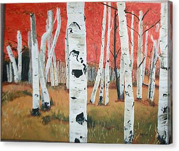 Canvas Print featuring the painting White Birches by Betty-Anne McDonald