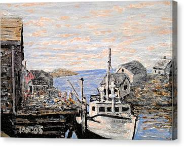 Canvas Print featuring the painting White Boat In Peggys Cove Nova Scotia by Ian  MacDonald