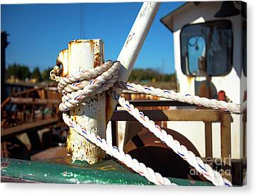 Canvas Print featuring the photograph White Boat Rope by John Rizzuto