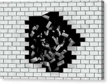 White Brick Wall Falling Down Making A Hole Canvas Print by Michal Bednarek