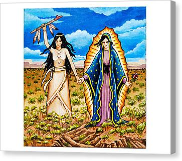 White Buffalo Woman And Guadalupe Canvas Print by James Roderick