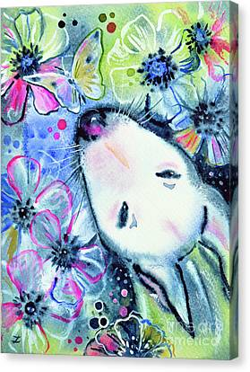 Canvas Print featuring the painting White Bull Terrier And Butterfly by Zaira Dzhaubaeva