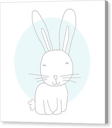 White Bunny On Blue- Art By Linda Woods Canvas Print by Linda Woods