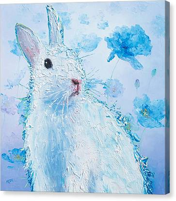 White Bunny On Blue Floral Background Canvas Print