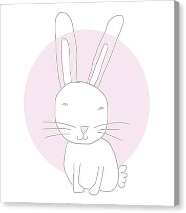 Fluffy Canvas Print - White Bunny On Pink- Art By Linda Woods by Linda Woods