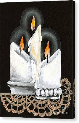White Candle Trio Canvas Print by Elaine Hodges