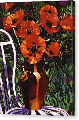 White Chair, Red Poppies Canvas Print by David Lloyd Glover