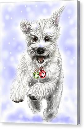 White Christmas Doggy Canvas Print by Heidi Kriel