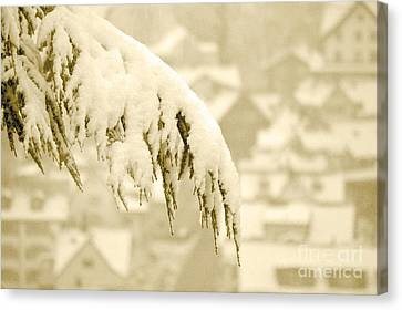 Canvas Print featuring the photograph White Christmas - Winter In Switzerland by Susanne Van Hulst