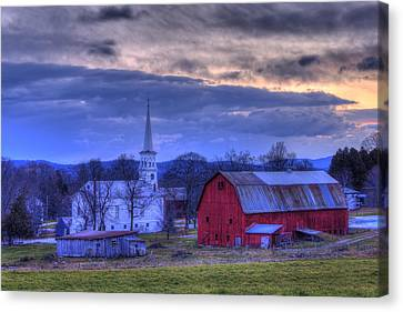 Red Barn In Winter Canvas Print - White Church And Red Barn - Peacham Vermont by Joann Vitali