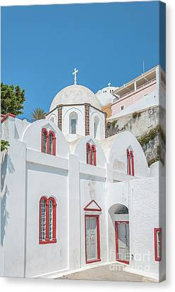 Canvas Print featuring the photograph White Church At Fira by Antony McAulay