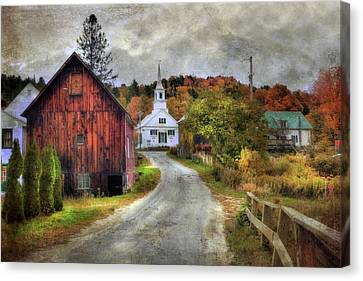 White Church In Autumn - Vermont Country Scene Canvas Print