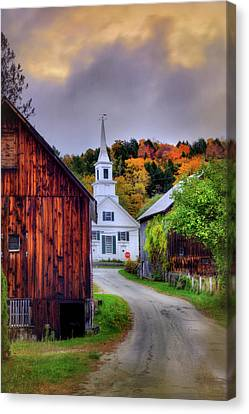 Canvas Print featuring the photograph White Church In Autumn - Waits River Vermont by Joann Vitali