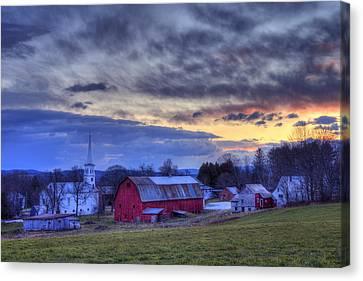 White Church Red Barn Country Scene - Peacham Vermont Canvas Print
