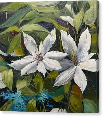Canvas Print featuring the painting White Clematis by John Williams