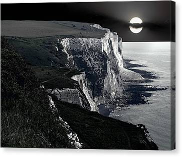 White Cliffs Of Dover In Moonlight Canvas Print by Daniel Hagerman