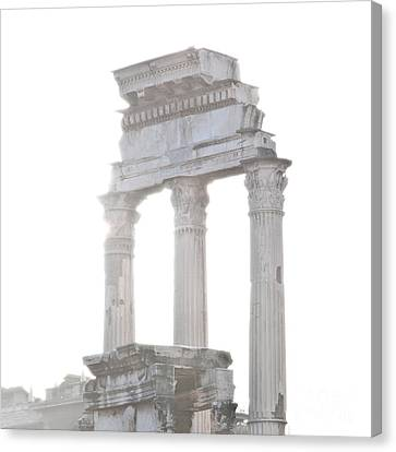White Columns Temple Of Castor And Pollux In The Forum Rome Italy Canvas Print by Andy Smy
