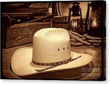 White Cowboy Hat In A Barn Canvas Print by American West Legend By Olivier Le Queinec