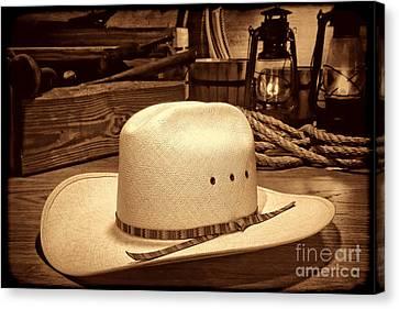 White Cowboy Hat In A Barn Canvas Print