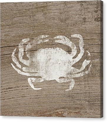 Natural Canvas Print - White Crab On Wood- Art By Linda Woods by Linda Woods