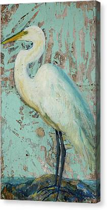 Crane Canvas Print - White Crane by Billie Colson