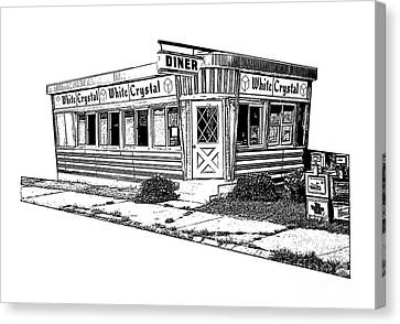 White Crystal Diner Nj Sketch Canvas Print by Edward Fielding