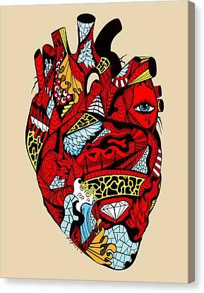 White Diamond Heart Canvas Print by Kenal Louis