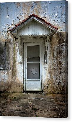 White Door And Torn Screen Canvas Print