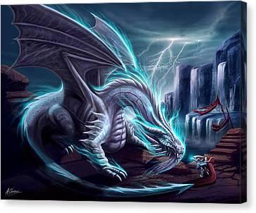 White Dragon Canvas Print by Anthony Christou
