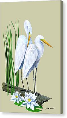 Canvas Print - White Egrets And White Lillies by Kevin Brant