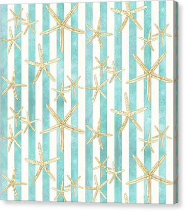 Sea Canvas Print - White Finger Starfish Watercolor Stripe Pattern by Audrey Jeanne Roberts