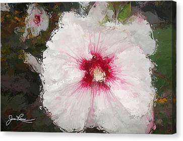Canvas Print featuring the painting White Flower by Joan Reese
