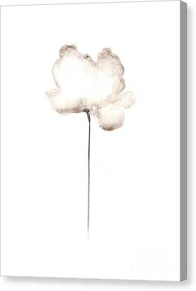 White Flower Minimalist Painting Canvas Print by Joanna Szmerdt