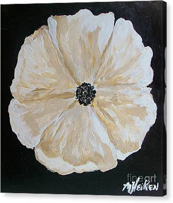 White Flower On Black Canvas Print by Marsha Heiken
