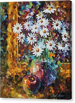 White Flowers Canvas Print by Leonid Afremov