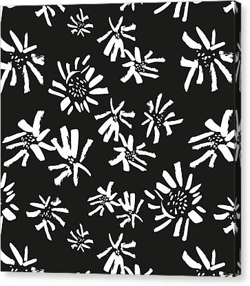 White Flowers On The Black Canvas Print