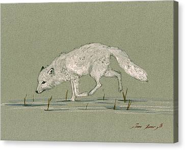 White Fox Walking Canvas Print