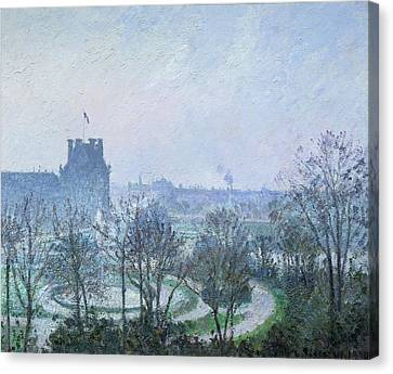 Frost Tower Canvas Print - White Frost Jardin Des Tuileries by Camille Pissarro