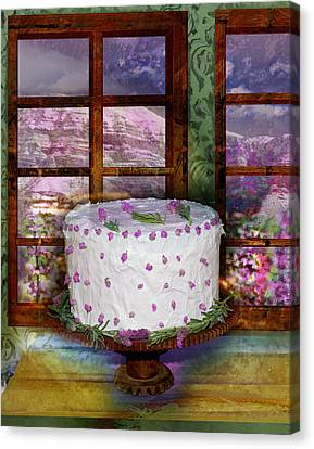 Interior Still Life Canvas Print - White Frosted Cake by Mary Ogle and Miki Klocke
