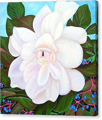 White Gardenia With Virginia Creepers Canvas Print