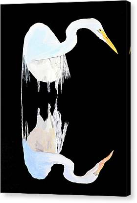 Canvas Print featuring the painting White Heron by Eric Kempson