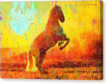 White Horse - Da Canvas Print by Leonardo Digenio