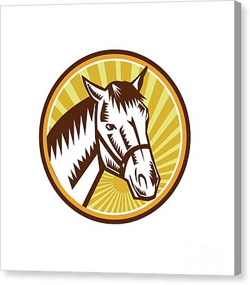 White Horse Head Sunburst Circle Woodcut Canvas Print by Aloysius Patrimonio