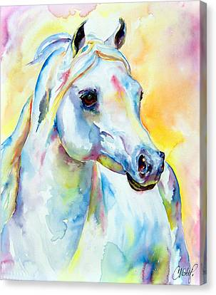 White Horse Portrait Canvas Print by Christy  Freeman