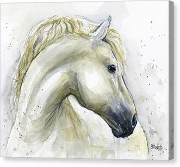 Horse Lover Canvas Print - White Horse Watercolor by Olga Shvartsur