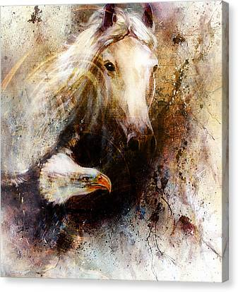 White Horse With A Flying Eagle Beautiful Painting Illustration Canvas Print by Jozef Klopacka