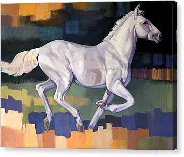 White Horse2 Canvas Print by Farhan Abouassali