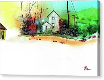 Canvas Print featuring the painting White Houses by Anil Nene