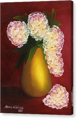 White Hydrangeas In A Golden Vase Canvas Print by Maria Williams